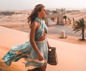 girl, desert, and dress image