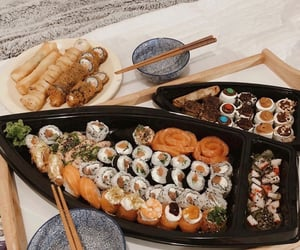 food, oriental, and sushi image