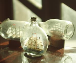 ship, vintage, and bottle image