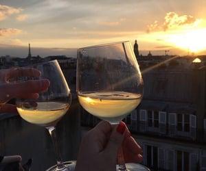 sunset, paris, and wine image