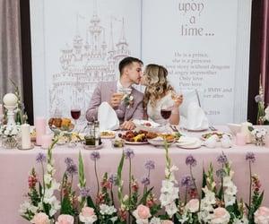 couple, wedding, and whitedress image