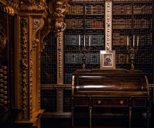 library, bibliotheque, and dark academia image