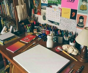 art, desk, and draw image