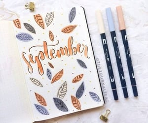 September, title, and bullet journal image