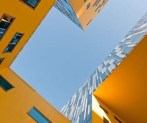 architecture, yellow, and blue image