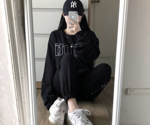 asian fashion, basket, and black image