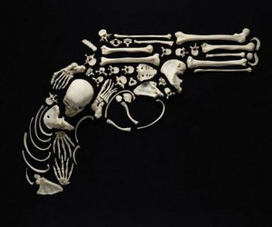 gun, bones, and skull image