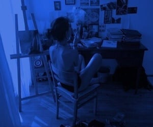 girl, art, and smoke image