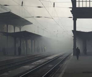 black and white, station, and dark image