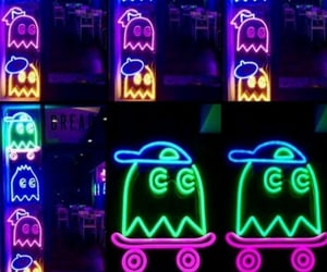 neon, pacman, and neon sign image