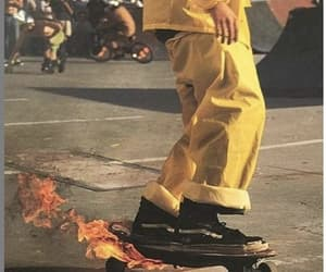 fire, yellow, and aesthetic image