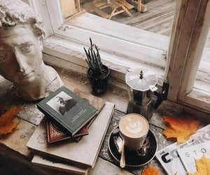 book, coffee, and art image