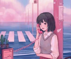 anime girl and pink image