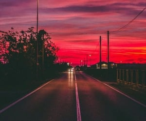 red, road, and sunset image