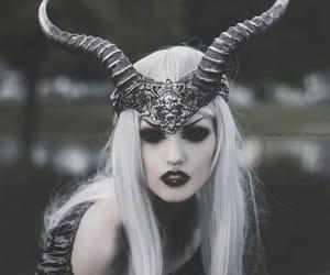dark, horns, and black image
