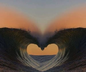 heart, sea, and waves image