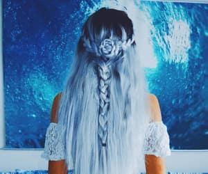 mermaid hair, blue hair color, and ocean blue color image