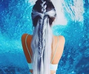 mermaid hair, blue hair, and ocean blue hair image