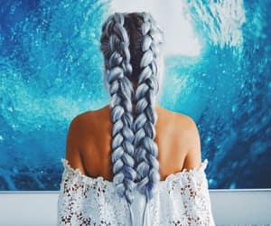 blue hair, mermaid hair, and ocean blue image
