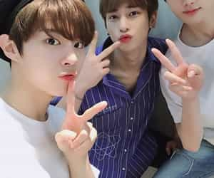 x1, wooseok, and minhee image