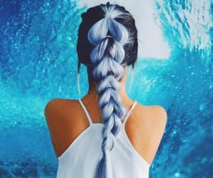 mermaid hair, blue hair, and pull-trough braid image