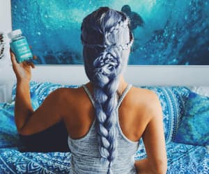blue hair, flower braid, and mermaid hair image