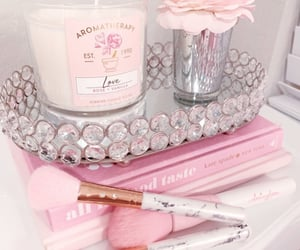 candle, diamonds, and pink image