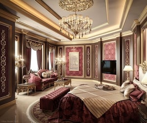 bed, luxury, and Or image