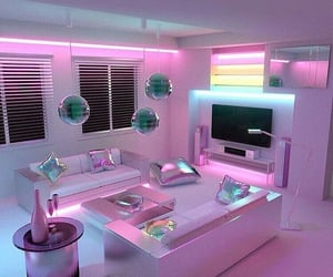 chrome aesthetic, living room, and silver chrome image
