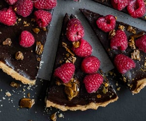 cake, raspberry, and chocolate image