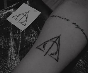 black and white, Tattoos, and harry potter image