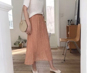 aesthetic, maxi skirt, and peach image