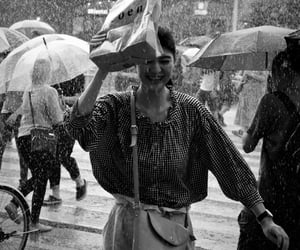 black and white, girl, and rain image