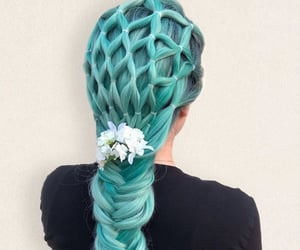blue hair, braids, and colored hair image