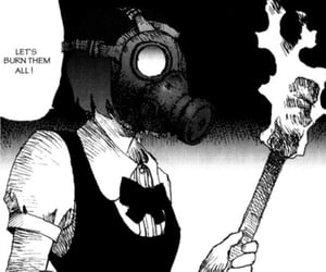 anime, black and white, and burn image