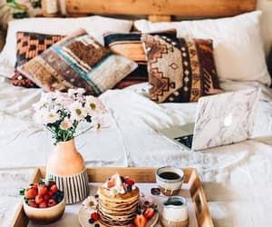 bedroom, breakfast, and bed image