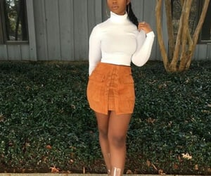 business casual, hoops, and orange skirt image