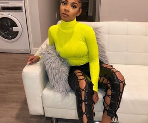 black girl, neon yellow, and leather pants image