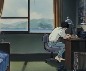 anime, studio ghibli, and ocean waves image