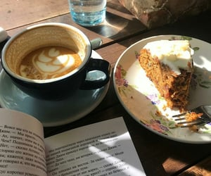 coffee, book, and cake image
