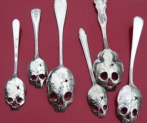 art, spoons, and skulls image