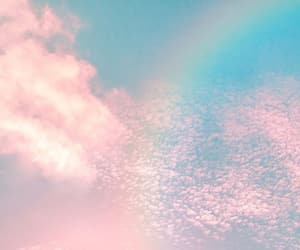 clouds, rainbow, and background image