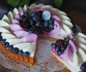 blackberries, blueberries, and cheesecake image