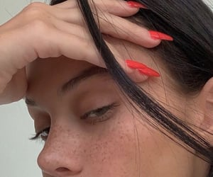 girl, nails, and freckles image