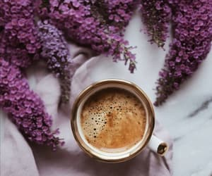coffee, flowers, and lilac image