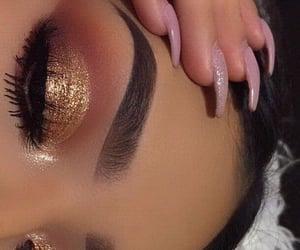 brown, eyeshadow, and nails image