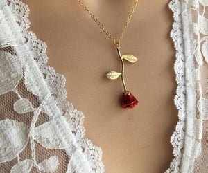 rose, red, and necklace image
