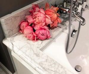 flowers, bathroom, and bath image