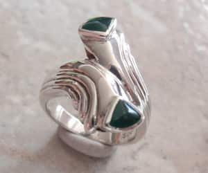 etsy, unusual ring, and green agate ring image