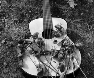 b&w, guitar, and music image